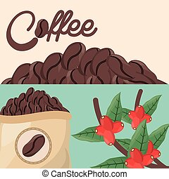 sac, bonen, koffie boom, fris