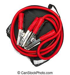 sac, câbles, rouge noir, cavalier