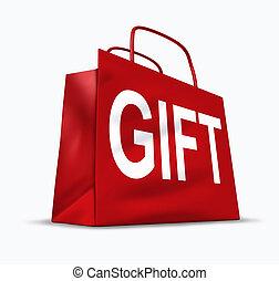 sac, cadeau, rouges, achats