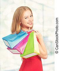 sac, centre commercial, achats femme, heureux