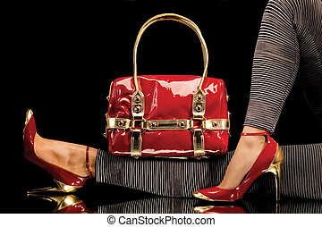 sac, chaussures, rouges