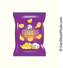 sac, chips, champignon, pomme terre