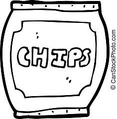 sac, chips, dessin animé, pomme terre