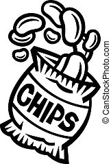 sac, chips, pomme terre