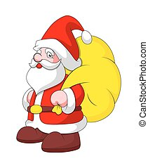 sac, claus, santa, cadeau, dessin animé