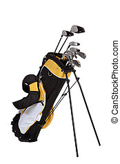 sac, clubs, golf, blanc