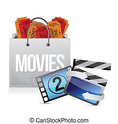 sac, conception, achats, illustration, cinéma