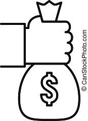 sac, contour, icône, prendre, style, argent