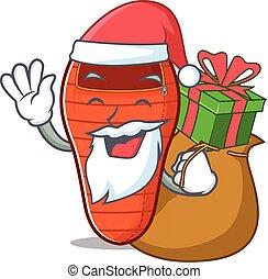 sac couchage, caractère, cadeau, dessin animé, santa, conception