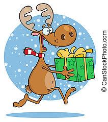 sac, courses, renne, neige
