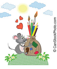 sac, crayons, souris