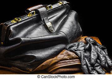 sac cuir, noir