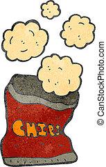 sac, dessin animé, chips, retro, pomme terre