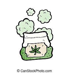 sac, dessin animé, mauvaise herbe