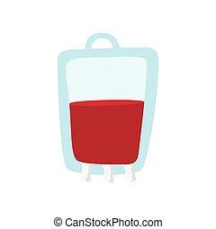 sac, dessin animé, sanguine, icône