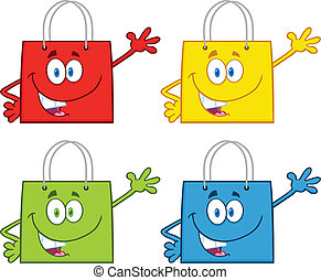 sac, ensemble, achats, étoiles, collection
