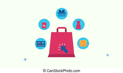 sac, ensemble, achats, commercial, icônes