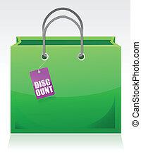 sac, escompte, étiquette, achats