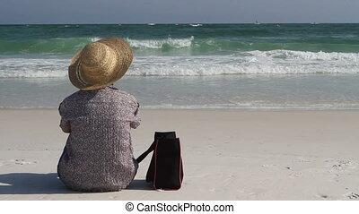sac, femme, plage, séance