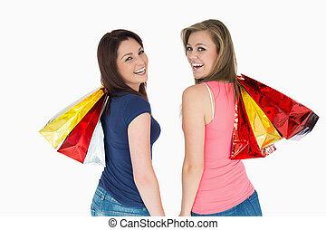 sac, femmes commerciales, deux, heureux
