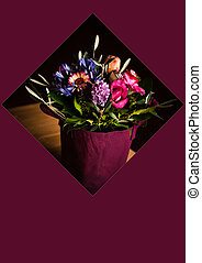sac, fleurs, concept, achats, carte