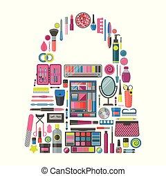 sac, forme, outils, cosmétique, maquillage