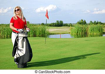 sac, girl, terrain de golf