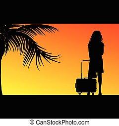 sac, girl, voyage, illustration