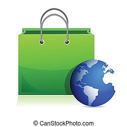 sac, globe, achats, mondiale, une