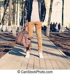 sac, gros plan, mode, rue, homme