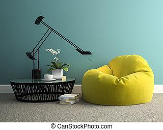 sac haricots, jaune, rendre, partie, intérieur, 3d