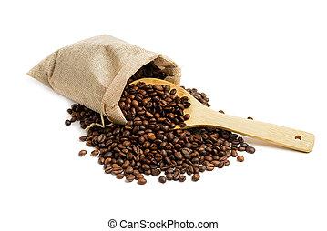 sac, haricots, jute, café
