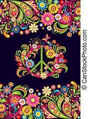 sac, hippie, impression, fleurs, floral, symbole, paix, fond...