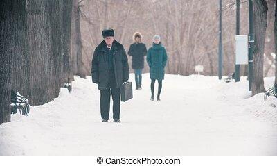 sac, homme âgé, marche, parc, neigeux