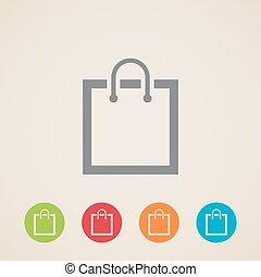 sac, icône, achats