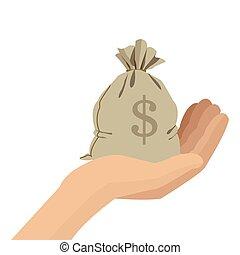 sac, icône, argent, tenant main