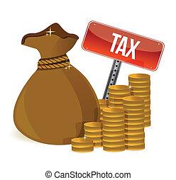 sac, impôts, signes
