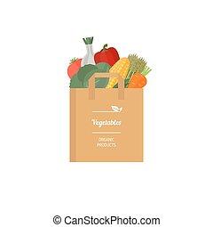 sac, légumes, papier, frais