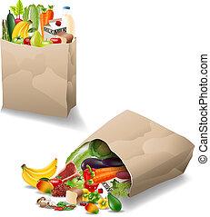 sac, légumes, papier, fruits frais