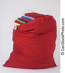 sac, lessive, rouges, plié