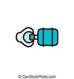 sac, ligne, ventilation, plat, couleur, icon., blanc, isolé, fond, artificiel