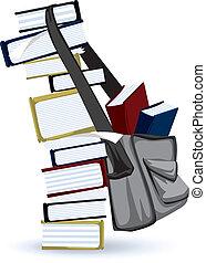 sac, livre scolaire, pile