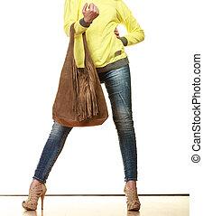 sac main, brun, femme, tient, frange