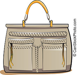sac main, gris, dames, vecteur