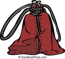 sac main, mode, vecteur, croquis, rouges