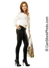 sac main, serré, girl, jean, noir