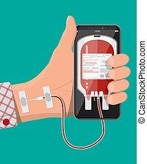 sac, main, téléphone, connecté, sanguine, intelligent
