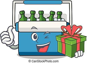 sac, mascotte, congélateur, cadeau, dessin animé