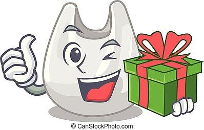 sac, mascotte, dessin animé, cadeau, plastique