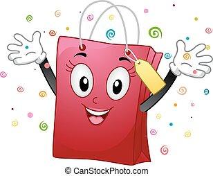 sac, mascotte, heureux, achats, mains